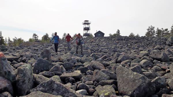 Kolme henkilöä kävelee kivikossa.